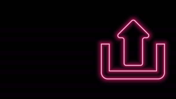 Glowing neon line Upload icon isolated on black background. Up arrow. 4K Video motion graphic animation