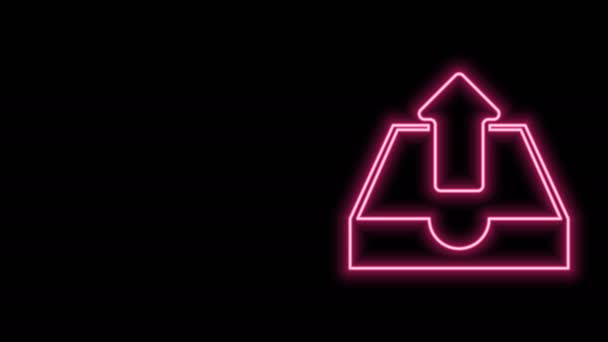 Glowing neon line Upload inbox icon isolated on black background. 4K Video motion graphic animation