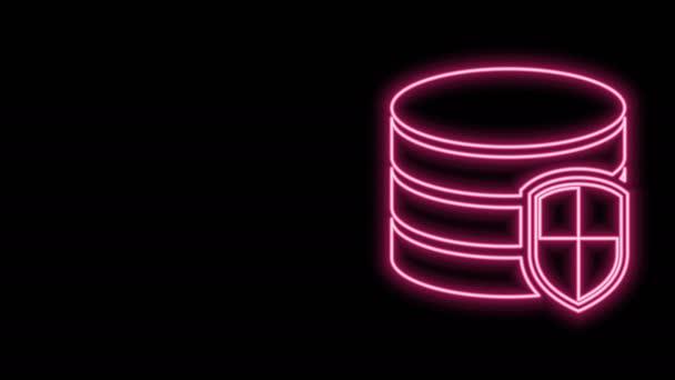 Leuchtendes Neon-Line Datenbank-Schutzsymbol isoliert auf schwarzem Hintergrund. Sichere Datenbank-Symbol. 4K Video Motion Grafik Animation