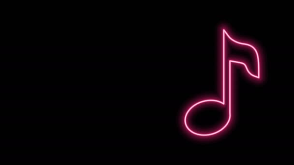 Glowing neon line Music note, tone icon isolated on black background. 4K Video motion graphic animation