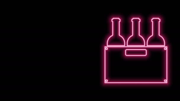 Glowing neon line Bottles of wine in a wooden box icon isolated on black background. Wine bottles in a wooden crate icon. 4K Video motion graphic animation