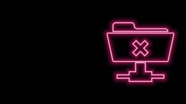 Zářivý neonový řádek FTP zrušit ikonu operace izolované na černém pozadí. Aktualizace softwaru, přenosový protokol, směrovač, správa týmové práce, kopírování. Grafická animace pohybu videa 4K