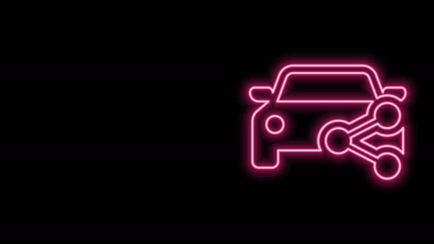 Glowing neon line Car sharing icon isolated on black background. Carsharing sign. Transport renting service concept. 4K Video motion graphic animation
