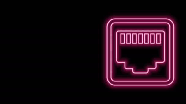 Leuchtende Leuchtleitung Netzwerkanschluss - Kabelbuchsensymbol isoliert auf schwarzem Hintergrund. LAN, Ethernet-Port-Zeichen. Das lokale Steckersymbol. 4K Video Motion Grafik Animation