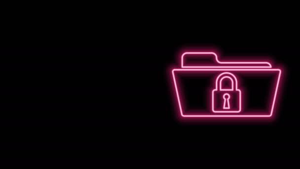 Zářící neonová čára Složka a zámek ikona izolované na černém pozadí. Zavřená složka a visací zámek. Bezpečnost, bezpečnost, koncepce ochrany. Grafická animace pohybu videa 4K