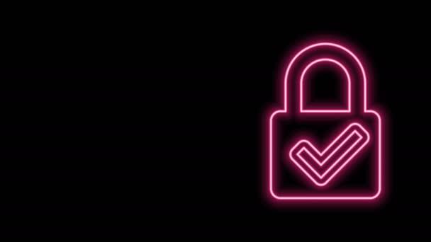 Zářící neonová čára Otevřete visací zámek a zaškrtněte ikonu izolovanou na černém pozadí. Koncept kybernetické bezpečnosti. Digitální ochrana údajů. Bezpečnost. Grafická animace pohybu videa 4K