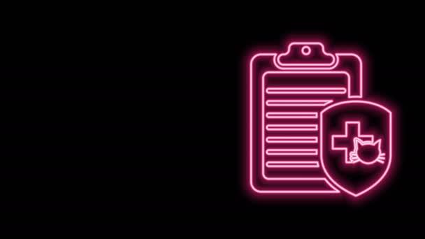 Leuchtendes neonfarbenes Klemmbrett mit Krankenakte als Haustier isoliert auf schwarzem Hintergrund. Krankenversicherungsformular. Medizinische Kontrollmarken berichten. 4K Video Motion Grafik Animation
