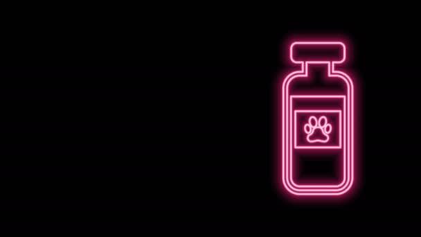 Leuchtende Neon-Linie Haustiere Fläschchen medizinische Symbol isoliert auf schwarzem Hintergrund. Verschreibungspflichtige Medizin für Tiere. 4K Video Motion Grafik Animation