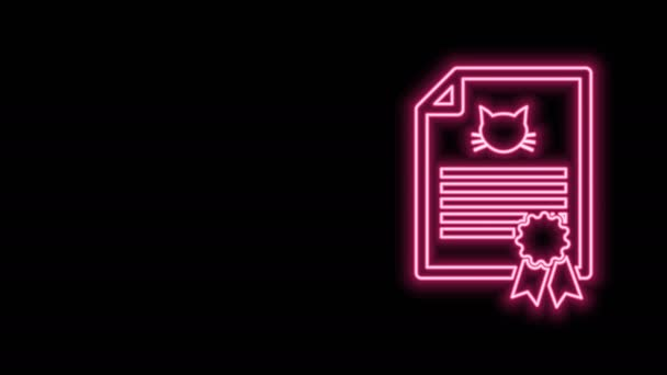 Žhnoucí neonová linie Lékařské osvědčení pro cestování s ikonou psa nebo kočky izolované na černém pozadí. Dokument pro mazlíčka. Otisk psí nebo kočičí tlapky. Grafická animace pohybu videa 4K