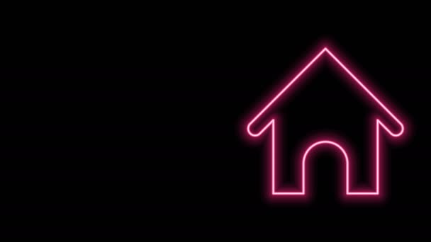 Glowing neon line Dog house icon isolated on black background. Dog kennel. 4K Video motion graphic animation