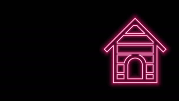 Žhnoucí neonová čára Ikona Psí boudy izolovaná na černém pozadí. Psí bouda. Grafická animace pohybu videa 4K