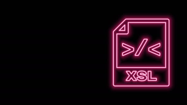 Glowing neon line XSL file document. Download xsl button icon isolated on black background. Excel file symbol. 4K Video motion graphic animation