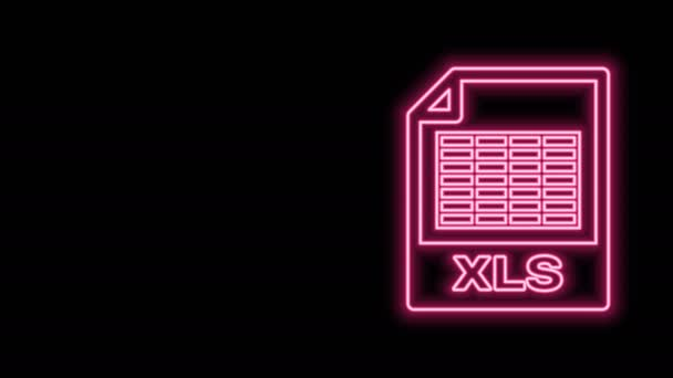 Glowing neon line XLS file document. Download xls button icon isolated on black background. Excel file symbol. 4K Video motion graphic animation