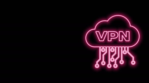 Leuchtendes Neon Line Cloud VPN-Interface-Symbol isoliert auf schwarzem Hintergrund. Software-Integration. 4K Video Motion Grafik Animation