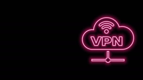 Leuchtendes Neon Line VPN Network Cloud Connection Icon isoliert auf schwarzem Hintergrund. Soziale Technologie. Cloud Computing Konzept. 4K Video Motion Grafik Animation