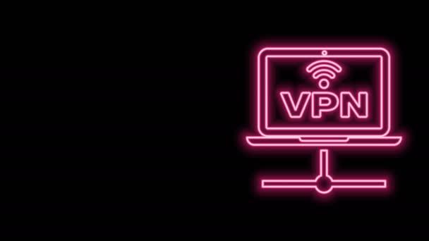 Leuchtendes Neon Line VPN Computernetzwerk-Symbol isoliert auf schwarzem Hintergrund. Laptop-Netzwerk. Internetverbindung. 4K Video Motion Grafik Animation