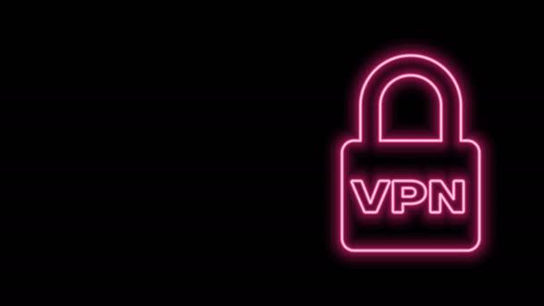 Zářící neonová čára Uzamknout ikonu VPN izolovanou na černém pozadí. Grafická animace pohybu videa 4K