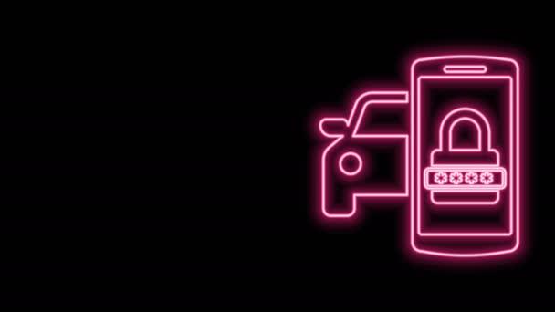 Žhnoucí neonová linka Ikona inteligentního bezpečnostního systému vozu izolovaná na černém pozadí. Smartphone ovládá zabezpečení auta v rádiu. Grafická animace pohybu videa 4K