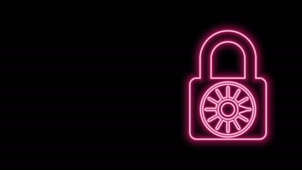 Világító neon vonal Biztonságos kombináció zár kerék ikon elszigetelt fekete alapon. Kombinált lakat. Biztonság, biztonság, védelem, jelszó, magánélet. 4K Videó mozgás grafikus animáció