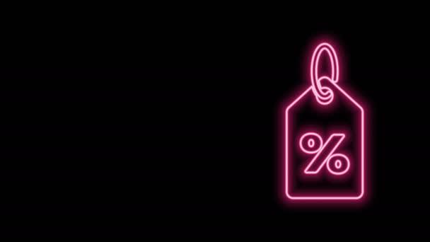 Ragyogó neon vonal Kedvezményes százalékos címke ikon elszigetelt fekete alapon. Bevásárlócédula. Különleges ajánlat jel. Kedvezményes kuponok szimbólum. 4K Videó mozgás grafikus animáció