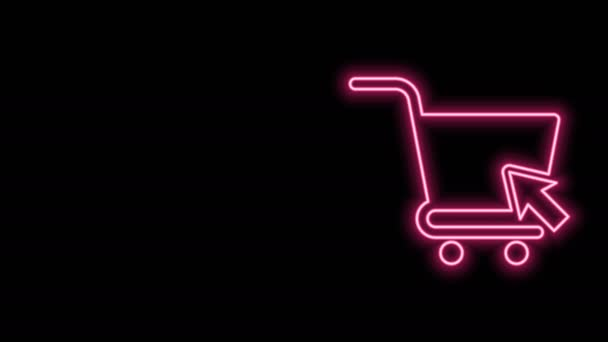 Glowing neon line Shopping cart with cursor icon isolated on black background. Online buying concept. Delivery service sign. Supermarket basket symbol. 4K Video motion graphic animation