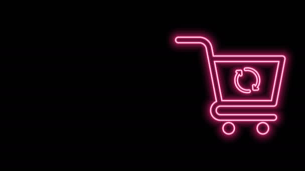 Glowing neon line Refresh shopping cart icon isolated on black background. Online buying concept. Delivery service sign. Update supermarket basket symbol. 4K Video motion graphic animation