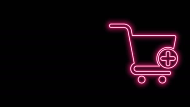 Glowing neon line Add to Shopping cart icon isolated on black background. Online buying concept. Delivery service sign. Supermarket basket symbol. 4K Video motion graphic animation