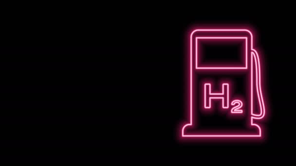 Zářící neonová linka Ikona čerpací stanice vodíku izolovaná na černém pozadí. Staniční znak H2. Grafická animace pohybu videa 4K