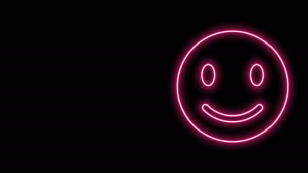 Glowing neon line Smile face icon isolated on black background. Smiling emoticon. Happy smiley chat symbol. 4K Video motion graphic animation
