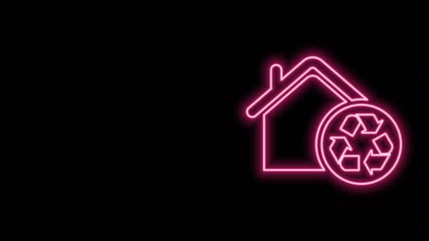 Leuchtende Neon-Linie Eco House mit Recycling-Symbol auf schwarzem Hintergrund isoliert. Ökologie zu Hause mit Recycling-Pfeilen. 4K Video Motion Grafik Animation