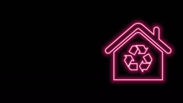Glowing neon line Eco House with recycling symbol icon isolated on black background. Ecology home with recycle arrows. 4K Video motion graphic animation