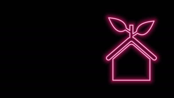 Glowing neon line Eco friendly house icon isolated on black background. Eco house with leaf. 4K Video motion graphic animation