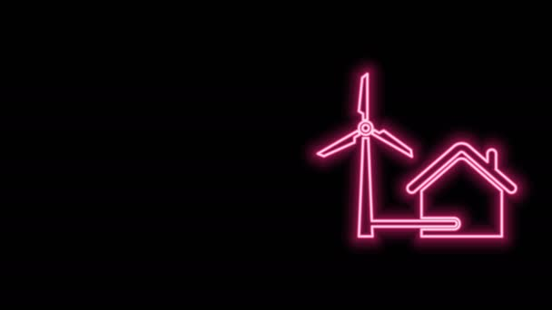 Glowing neon line House with wind turbine for electric energy generation icon isolated on black background. Eco-friendly house. Environmental Protection. 4K Video motion graphic animation