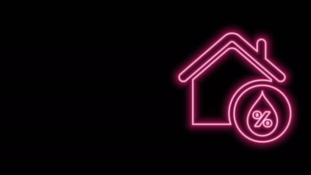 Glowing neon line House humidity icon isolated on black background. Weather and meteorology, thermometer symbol. 4K Video motion graphic animation