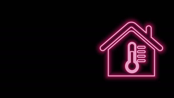 Zářící neonová čára Teplotní ikona domu izolované na černém pozadí. Ikona teploměru. Grafická animace pohybu videa 4K