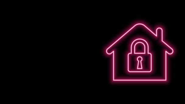 Glowing neon line House under protection icon isolated on black background. Home and lock. Protection, safety, security, protect, defense concept. 4K Video motion graphic animation