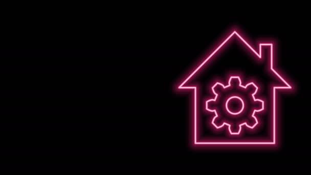 Leuchtende Neon-Linie Smart Home-Einstellungen Symbol isoliert auf schwarzem Hintergrund. Fernbedienung. 4K Video Motion Grafik Animation