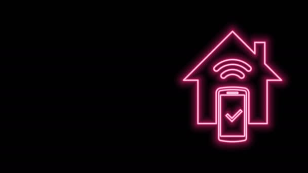 Žhnoucí neonová linka Smart home - ikona systému dálkového ovládání izolovaná na černém pozadí. Grafická animace pohybu videa 4K