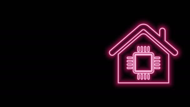 Leuchtende Leuchtschrift Smart Home Icon isoliert auf schwarzem Hintergrund. Fernbedienung. 4K Video Motion Grafik Animation