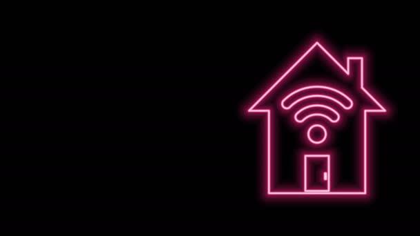 Leuchtende Neon-Linie Smart Home mit Wi-Fi-Symbol isoliert auf schwarzem Hintergrund. Fernbedienung. 4K Video Motion Grafik Animation
