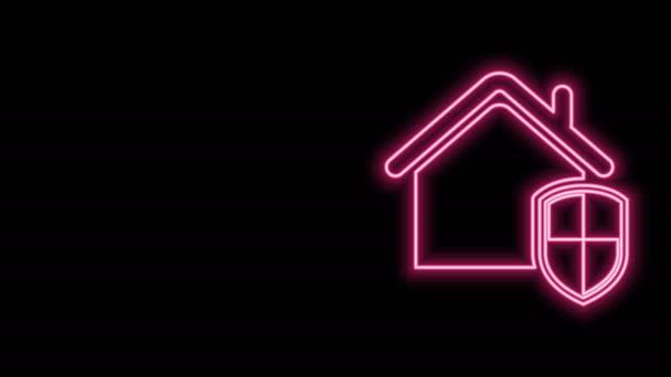 Zářící neonová čára Dům pod ochranou ikony izolované na černém pozadí. Domov a štít. Ochrana, bezpečnost, ochrana, obrana, obrana. Grafická animace pohybu videa 4K