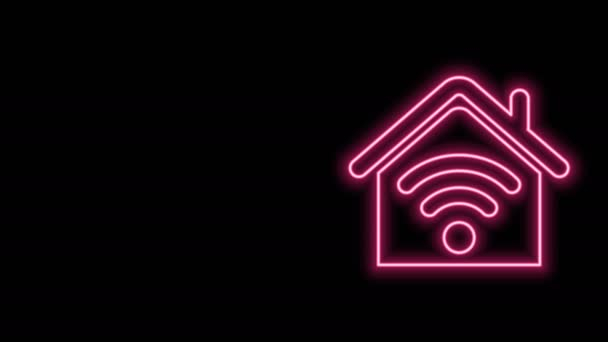 Glowing neon line Smart home with wi-fi icon isolated on black background. Remote control. 4K Video motion graphic animation