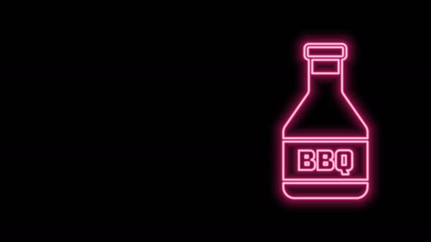 Glowing neon line Ketchup bottle icon isolated on black background. Barbecue and BBQ grill symbol. 4K Video motion graphic animation