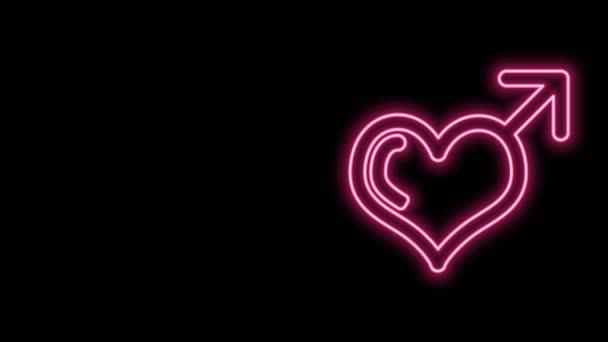 Ragyogó neon vonal Férfi nemi szimbólum és szív ikon elszigetelt fekete háttérrel. 4K Videó mozgás grafikus animáció