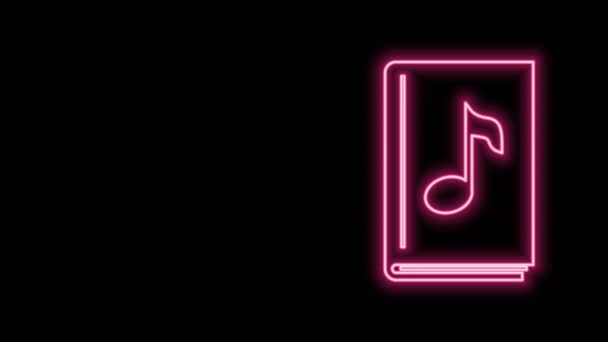Glowing neon line Audio book icon isolated on black background. Musical note with book. Audio guide sign. Online learning concept. 4K Video motion graphic animation