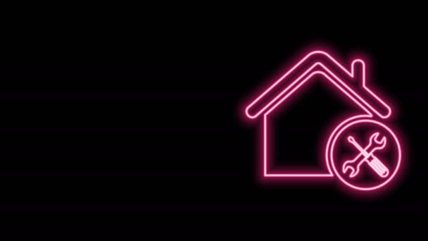 Glowing neon line House or home with screwdriver and wrench icon isolated on black background. Adjusting, service, setting, maintenance, repair, fixing. 4K Video motion graphic animation