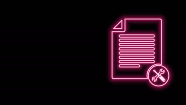 Leuchtende Leuchtschrift Dateidokument mit Schraubenzieher und Schraubenschlüssel-Symbol isoliert auf schwarzem Hintergrund. Anpassung, Service, Einstellung, Wartung, Reparatur, Reparatur. 4K Video Motion Grafik Animation