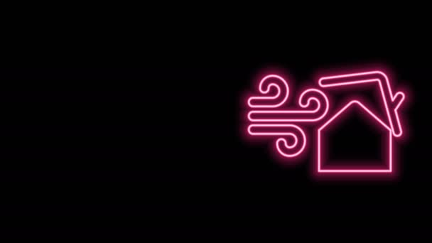 Glowing neon line Tornado swirl damages house roof icon isolated on black background. Cyclone, whirlwind, storm funnel, hurricane wind icon. 4K Video motion graphic animation