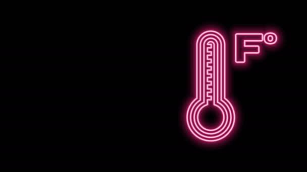 Világító neonvonal Meteorológiai hőmérő, amely fekete alapon izolált hőt és hideg ikont mér. Hőmérséklet Fahrenheit. 4K Videó mozgás grafikus animáció