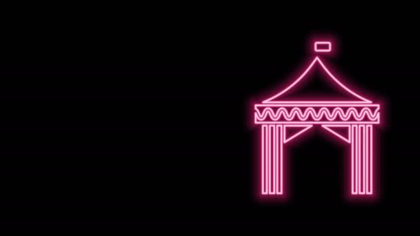 Leuchtende Leuchtschrift auf schwarzem Hintergrund. Karnevalszelt. Freizeitpark. 4K Video Motion Grafik Animation